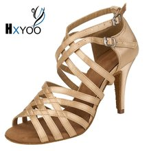 XHYOO Custom Made Satin Latin Ballroom Dance Sandals Women Salsa Shoes Girls Tango Blue Champagne Brown Soft Sole WK033