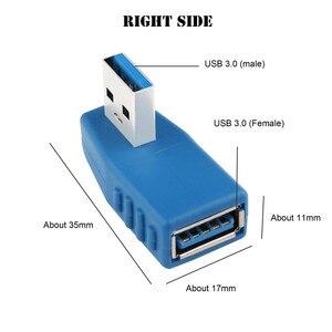 Image 3 - Niebieski 90 stopni w pionie lewego prawego w górę w dół pod kątem USB 3.0 męski na żeński konwerter M/F złącze adaptera