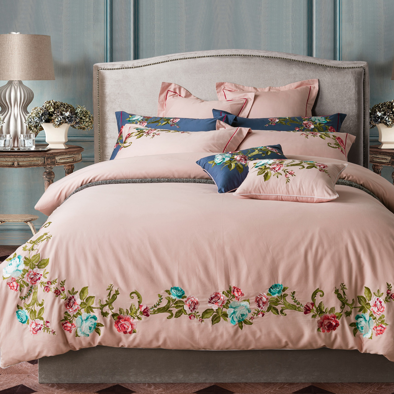 100% Katoen Roze Kingsize Koningin Beddengoed Set Dikke Bed Set Laken Borduurwerk Bed Dekbedovertrek Juego/ropa De Cama Parure De Lit Nieuwste Technologie