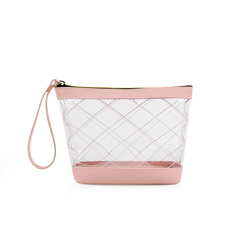 KANDRA New Geometric Transparent Cosmetic Bag Women PVC Solid Versatile Waterproof Clear Travel Lady Wash Pouch Purse 2019