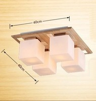 Wooden Ceiling Lamp Fixture vintage square bar counter american brief child modern lamp wood ceiling light