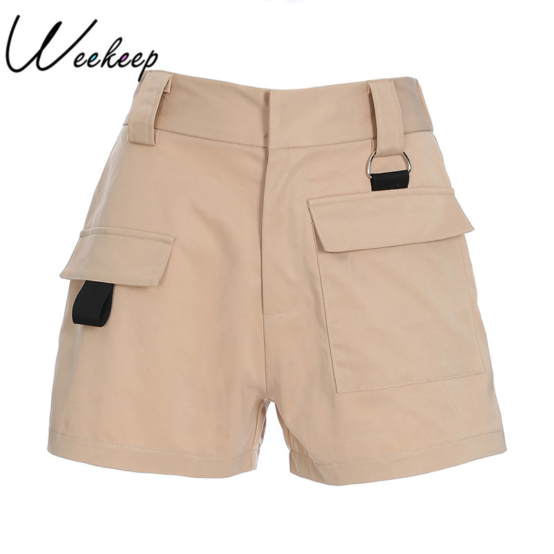 Weekeep Shorts Zipper Sexy Feminino High-Waist Casual Solid Cotton Fly-Pocket
