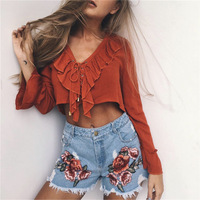 2017 New Slim Fit Denim Fashion Flower Embroidery Cotton Hot Women Jeans High Waist Stretch Denim