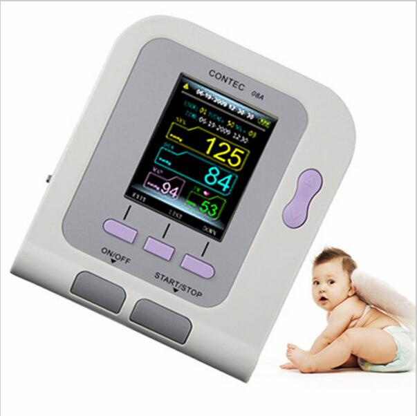 CONTEC08A Digital Infant NIBP Blood Pressure Monitor+Pediaric Cuff+Spo2 Probe infant spo2 probe for contec brand digital blood pressure monitor bp moniter contec08a 08c