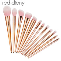 12PCS/set Powder Foundation Makeup Brushes Set Pro Eye Shadow Eyebrow Blush Contour Lip Brushing Brushes Cosmetic Makeup Tools