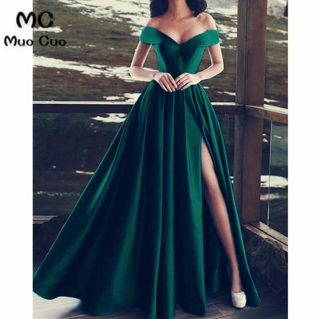 24345eed5f 2018 A-Line Royer Blue Evening Dresses Long Off Shoulder Prom dress for  teens Front Slit Formal Evening Dress for Women
