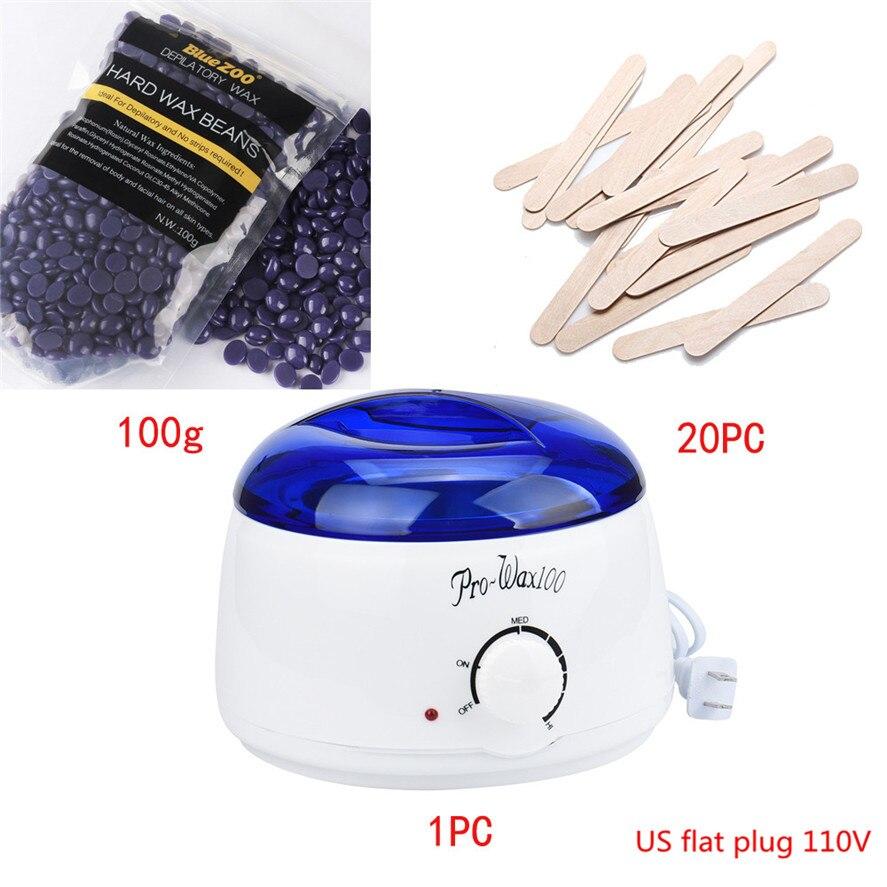 Hot Film Hard Wax Blue ZOO Hair Removal Bean 100g+Wiping Stick 20pcs+1PC Hot Wax Warmer Heater Pot Depilatory Set(US flat plug) цена и фото