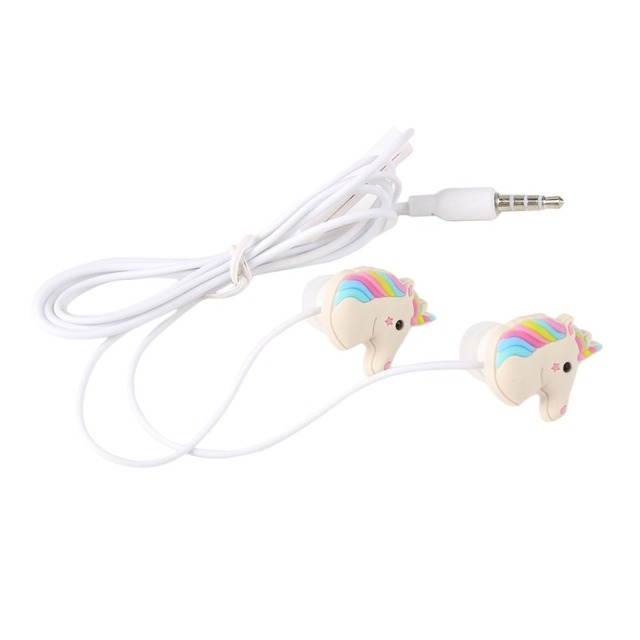 In-ear Earphone 3.5mm Earbuds With Mic Mini Earphone For Smartphone Special Unicorns Cartoon Earphones Colorful Rainbow Horse