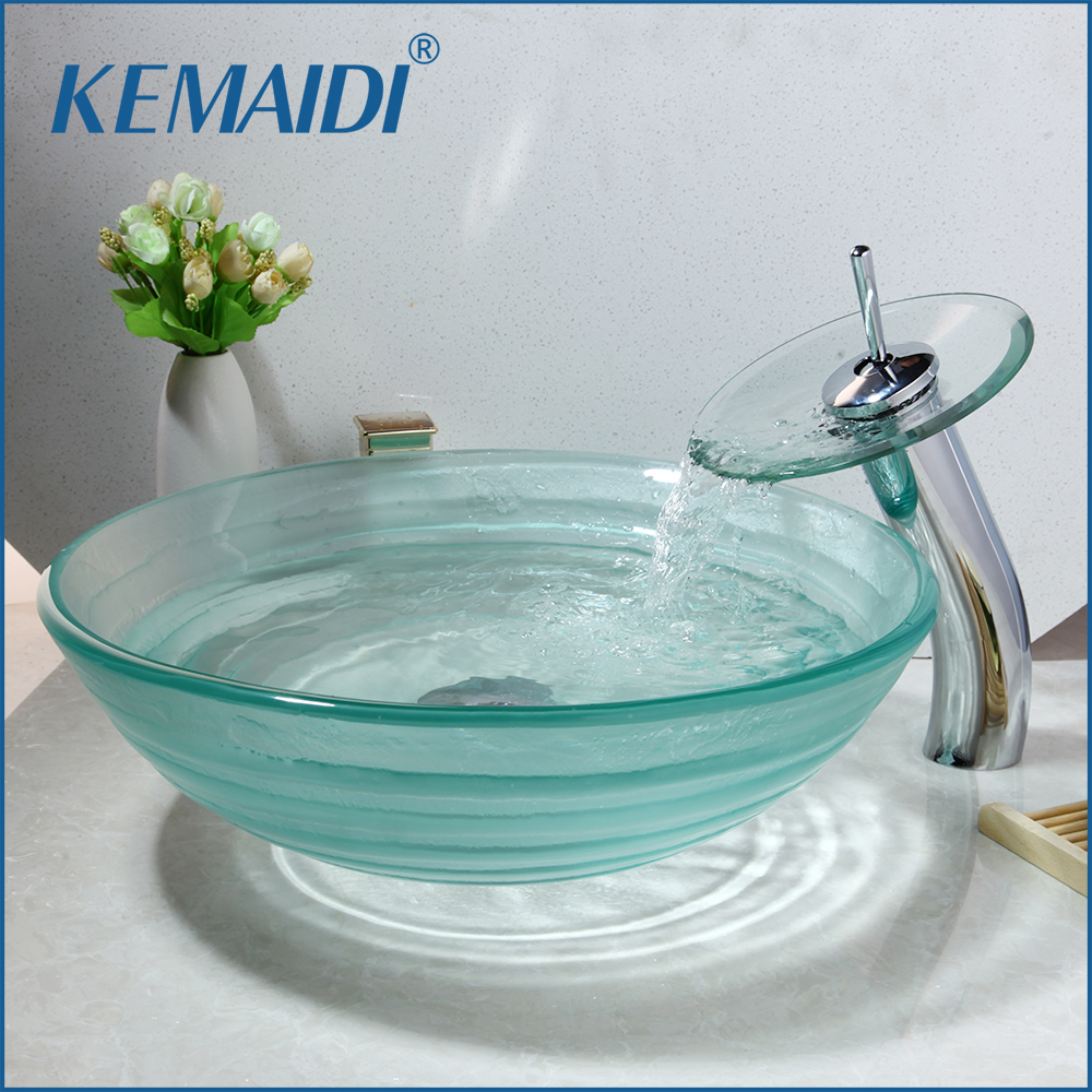 KEMAIDI Bathroom Sink With Waterfall Chrome Polished Faucet And Water Drain Round Shape Transparent Tempered Glass Vessel SinkKEMAIDI Bathroom Sink With Waterfall Chrome Polished Faucet And Water Drain Round Shape Transparent Tempered Glass Vessel Sink