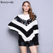 Heavy Sequin Striped Loose Sweater Womens Knitwear 2019 Knitted Pullover Sweater Poncho Feminino Inverno Poncho K16662