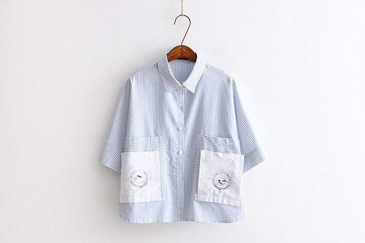 Hot Sale 2016 Japanese New Arrival Summer Female font b Shirt b font Big Pocket Striped