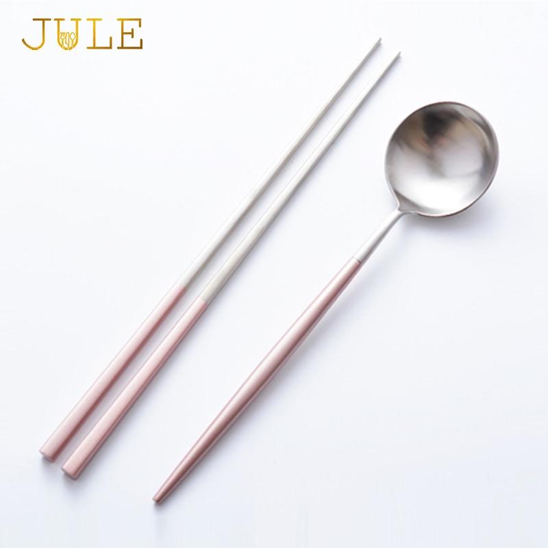 Korea 18 10 Stainless Steel Korean Pink Chopsticks Spoon