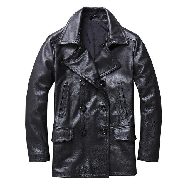 Mens Echtes Leder Jacken und Mäntel Echt Kuh Rindsleder Luxus Graben Stil Zweireiher Herbst Winter Oberbekleidung Mantel Männer