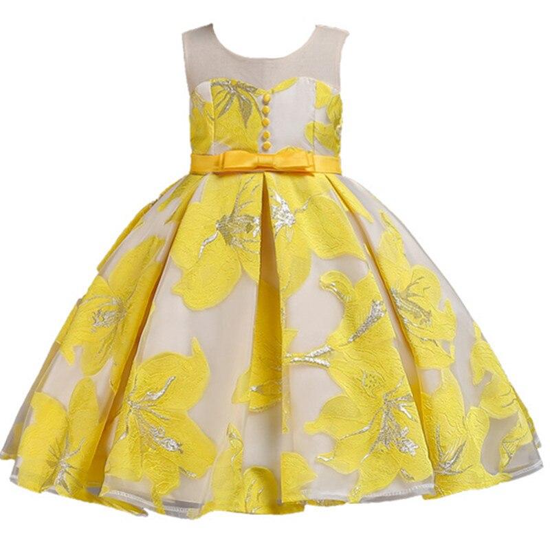 Summer Princess Party   Dresses     Flower     Girls     Dress   Sequins Bow Royal blue Wedding Pageant Children Clothes Size 3-12