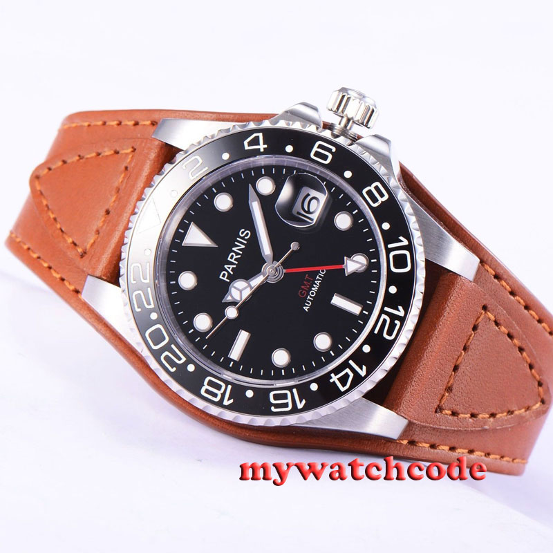 40mm Parnis black dial leather strap Sapphire glass GMT automatic mens watch 38140mm Parnis black dial leather strap Sapphire glass GMT automatic mens watch 381
