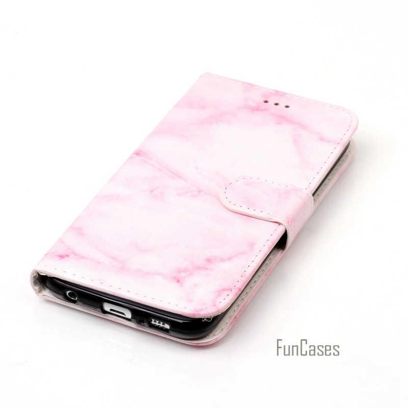 ファッションピンク大理石花財布カードpuレザースタンドケースカバー三星銀河s6エッジサムスンs6 g9200