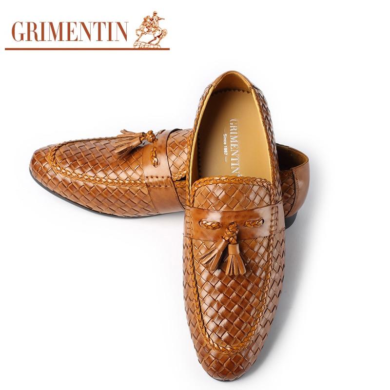 US $109.0 |GRIMENTIN Marke handgemachte geflochten herren formale schuhe aus echtem leder braun schwarz mode quaste männlichen schuhe in Formelle