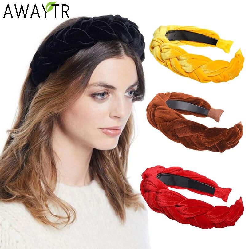 Female Solid Color Satin Braided Headband Sponge Wide Hair Hoop Hair Accessories