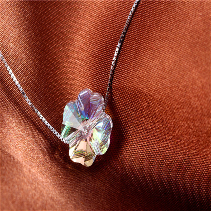 INZATT Real 925 Sterling Silver ZIRCON Pendant Necklace Clover Square Star Fashion Jewelry For Women Charm Gift 2018 New