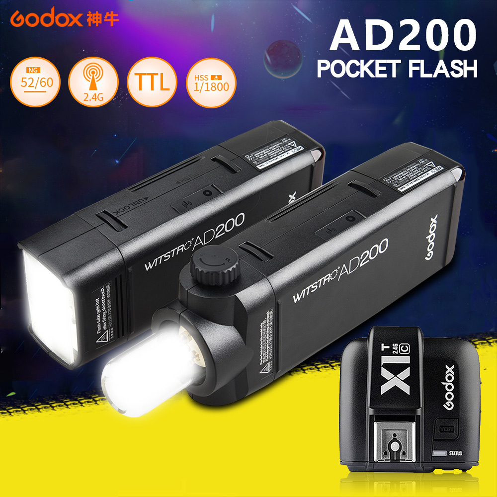 Godox AD200 Pocket Flash speedlite High-speed photographic + X1T Trigger For Canon Nikon Sony, 200W TTL Lithium Battery Pack w extra battery godox v860n speedlite i ttl speedlight flash light high speed godox ft 16s wireless trigger kit for nikon dslr