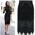 Falda 2016 de Encaje de Cintura alta Bodycon Para Mujer Faldas Mujer Saia Feminino Vintage Ladies Falda Lápiz Negro