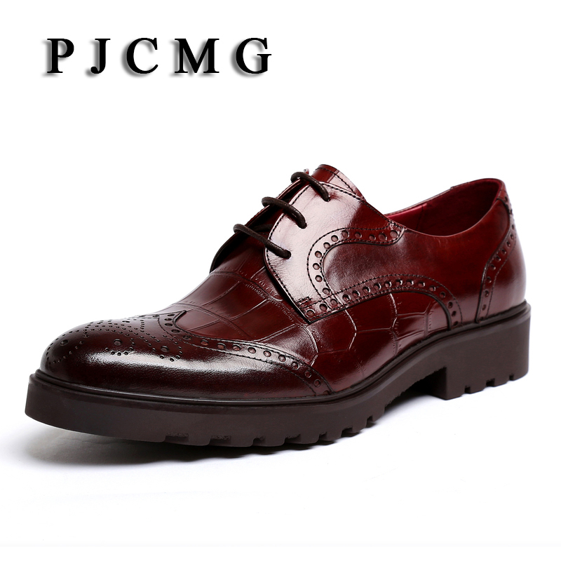 PJCMG New Men's Genuine Crocodile Pattern Leather Pointed Toe Thick soles Lace-Up Cowhide Dress Wedding  Flat Oxford Men Shoes шкаф платяной гранд кволити джордан 4 4804