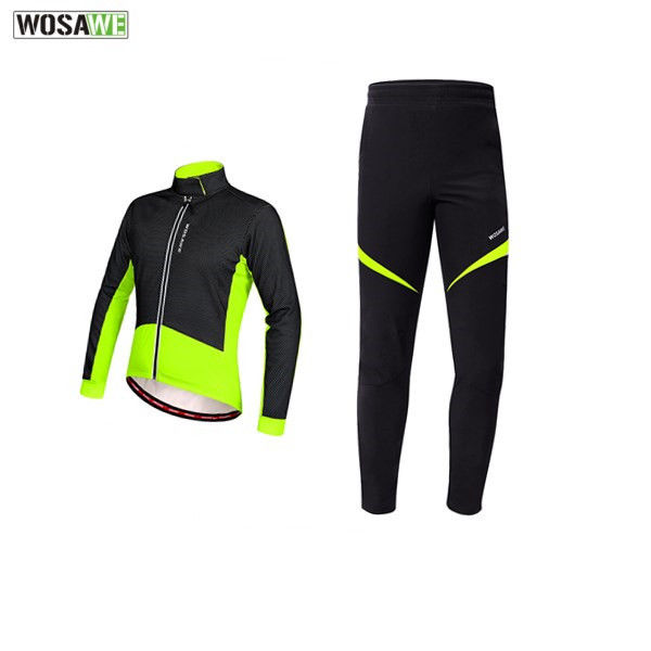 WOSAWE Winter Fleece Cycling Sets Suits Bicycle Thermal Jacket Men's Windproof Bike Trousers Autumn Clothing Sportswear wosawe thermal fleece winter cycling jackets sets waterproof windproof mens bike long coat sportswear pants bicycle tights