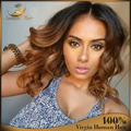 Top Sale Human Hair Full Lace Wig Blonde Ombre Lace Front Wig Body Wave Two Tone With Bangs Baby Hair