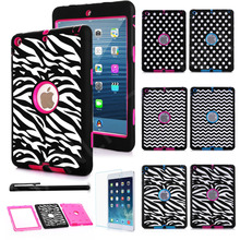 Dot Zebra Wave Shockproof Heavy Responsibility Rubber Laborious Case Cowl for iPad 2 iPad three iPad four Cowl Case w/Display Protector+Stylus Pen