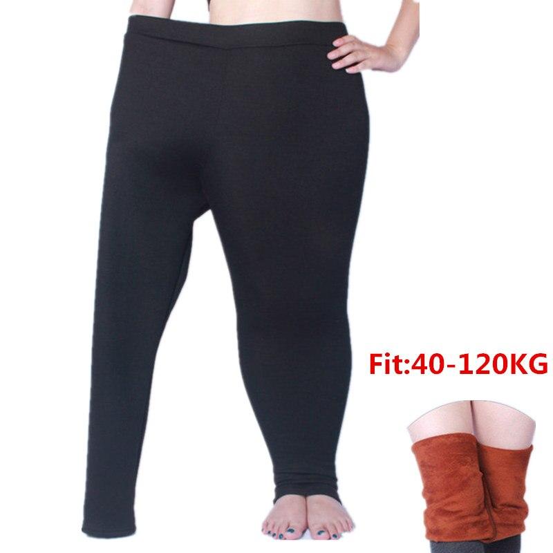 Winter   Leggings   Women Plus Size Thick Velvet XL- 6XL Big Sizes Large Slim   Legging   Pants High Waist Black Grey Warm Leggins