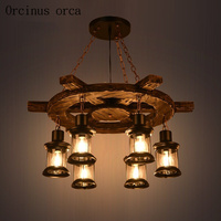 American style retro industrial wind ship rudder solid wood chandeliers restaurants bars cafes  personalized  creativity ceiling