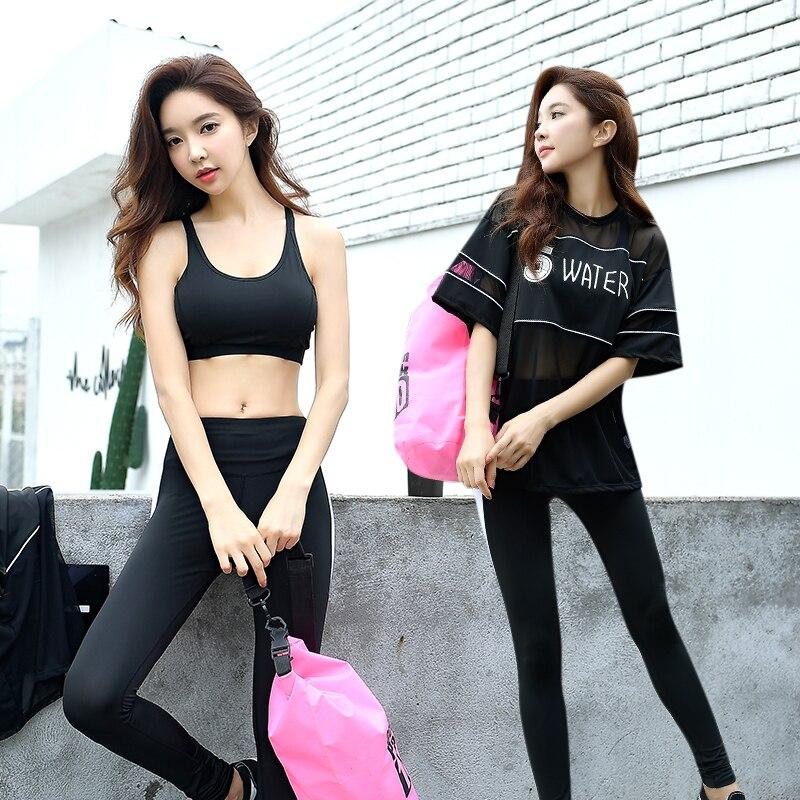 Femmes Sport costume noir Yoga costume Fitness femmes imprimer lettre t-shirt + soutien-gorge + pantalon survêtement Gym entraînement vêtements Sportswear pour les femmes