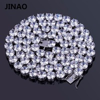 JINAO Gold Silver Color Plated Iced Out Hip Hop Male Jewelry Chain Necklace Copper Micro Pave
