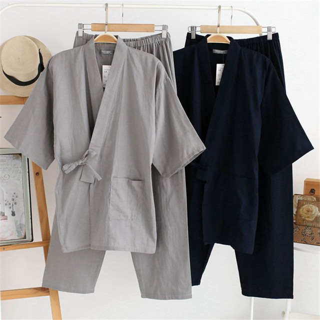 2017 Homens Pijama Quimono Japonês Terno Primavera Inverno Masculino Tecido de Algodão Gaze Dupla Solta Sleepwear Camisola Top & Conjunto Buttoms