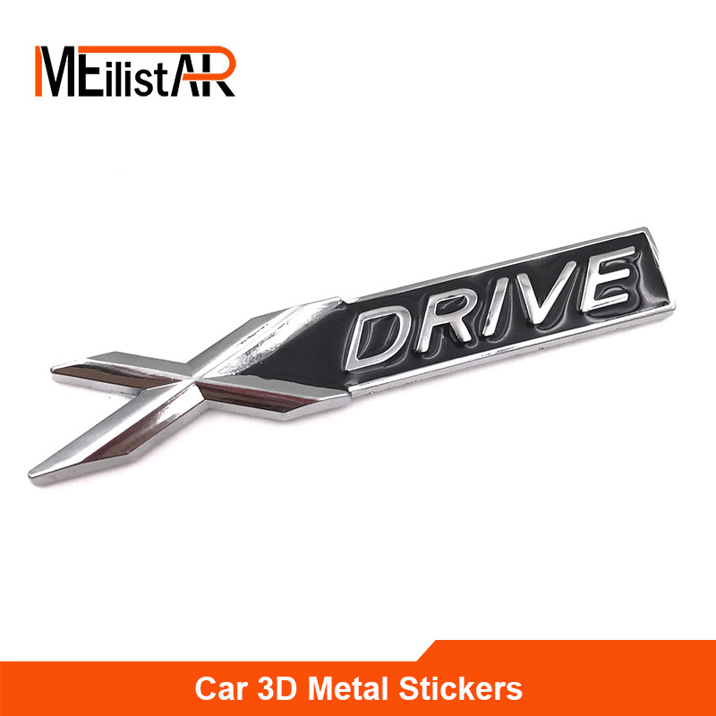 NEW 3D Metal Chrome Badge X DRIVE Emblem Badge Sticker Decal for BMW 3 4 5 6 7 All Series X1 X3 X5 E70 X6 E71 Car Decoration auto chrome camaro letters for 1968 1969 camaro emblem badge sticker