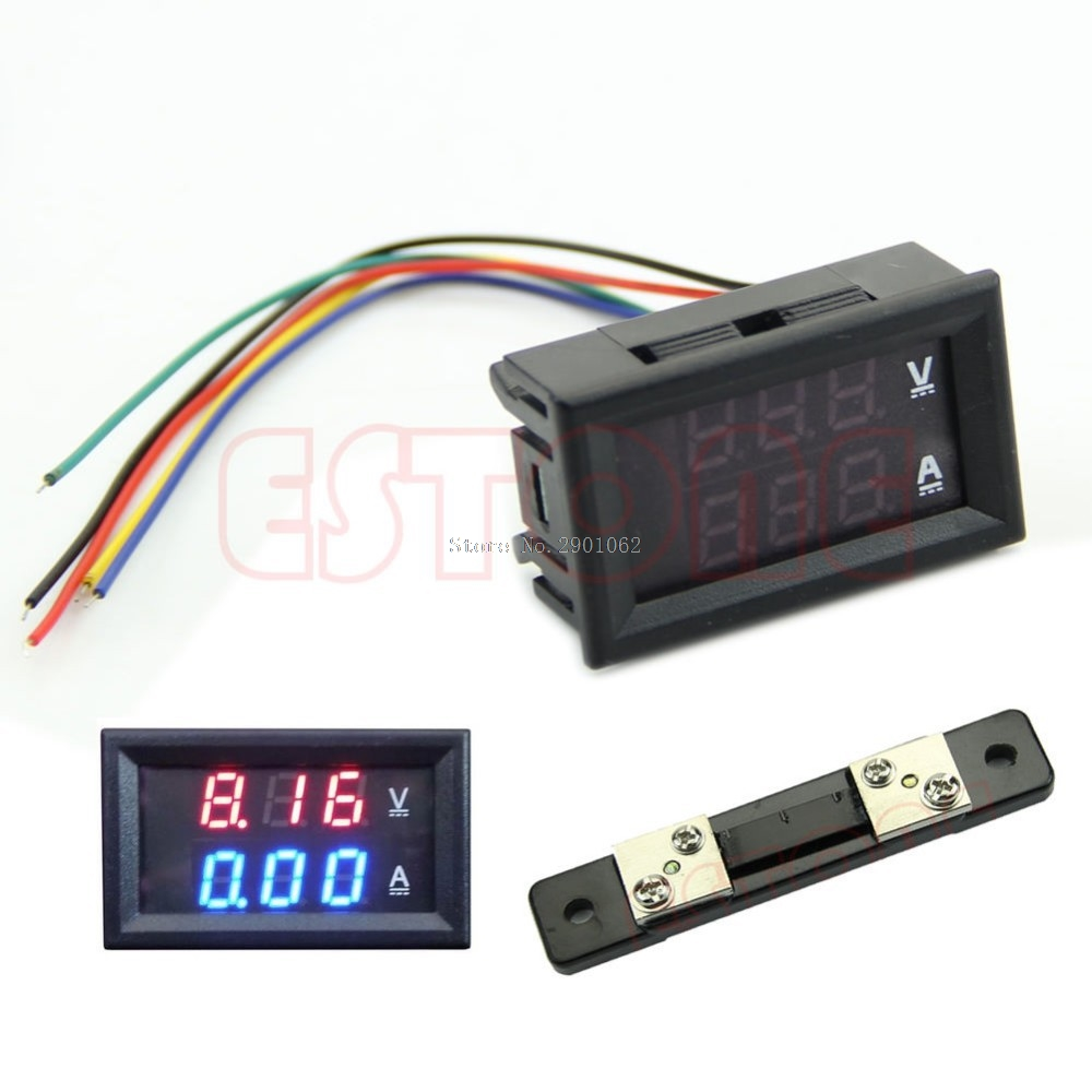 Dual LED Digital Voltmeter Ammeter Amp Volt Meter + Current Shunt DC 100V 50A -B119 dc 0 100v 1000a voltage meter current gauge digital voltmeter ammeter amp volt panel meter
