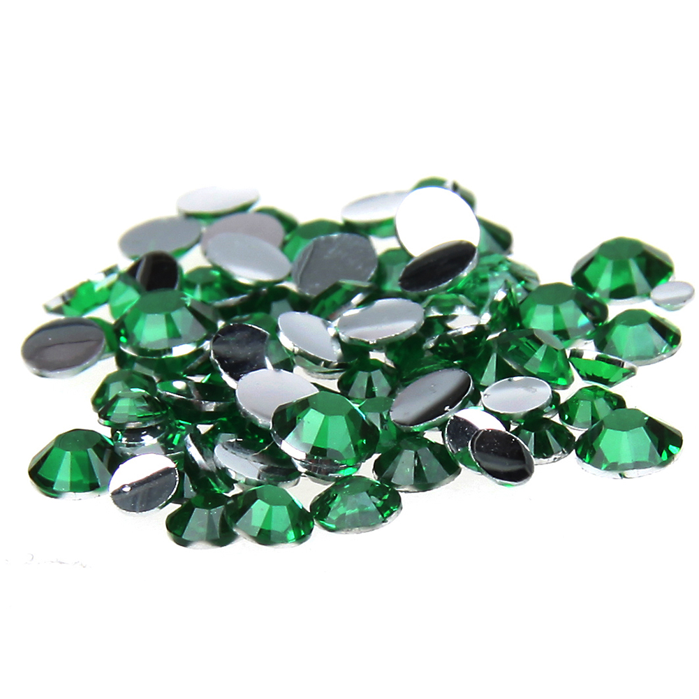 1000pcs 2-5mm And Mixed Sizes Green Resin Rhinestones Non Hotfix Glitter Beauty For Nails Art Backpack DIY Design Decorations