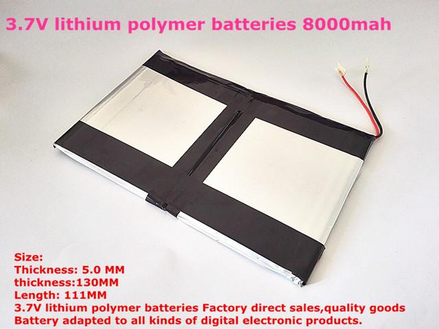Batería de la tableta 3.7 V baterías de polímero de litio de alta capacidad 8000 mah 9 pulgadas Tablet PC batería 50130111