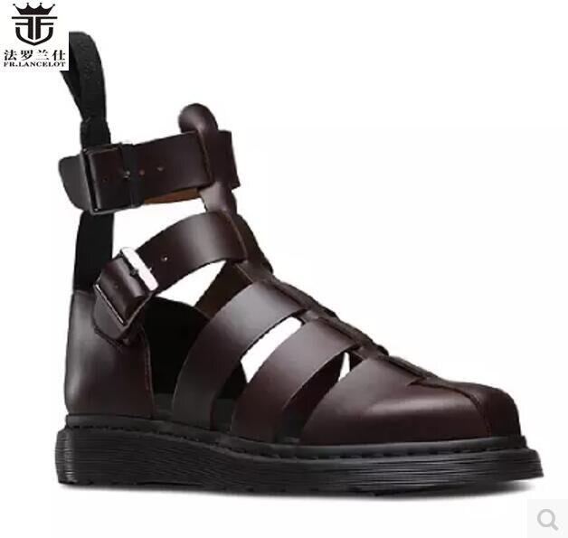FR.LANCELOT Europe new 2018 men gladiator sandal flat heel summer shoes cuts out sandals buckle thick heel causal flats