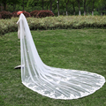 Chic Lace 3 Meters Wedding Bridal Veils Long With Comb Ivory White Elegant One Layer Appliques Flowers Veil Wedding Accessories