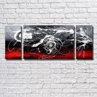 Pur peint à la main peintures à l'huile Home Decor 3 sort abstraite rouge noir peinture toile Wall Art image For Living Room Decor