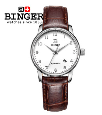 Newest Brown Cow Leather Strap Automatic Mechanical Watch Switzerland Brand Men White Binger Watches Number Wristwatch Elegant famous brand binger watches fashion brown leather strap mechanical casual watch gold date men dress wristwatch 200m waterproof
