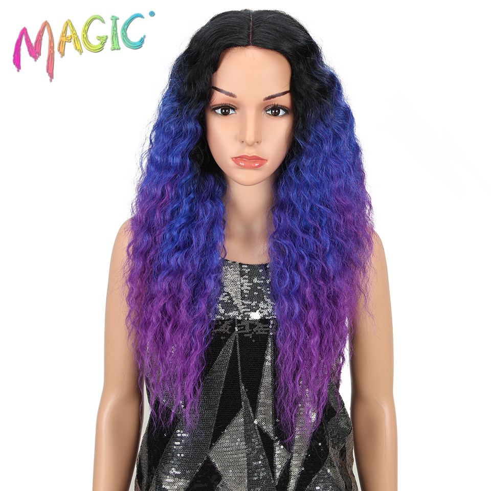 MAGIC Ombre Purple Black Hair Long Lace Front Synthetic Hair Wigs For Black Women 26