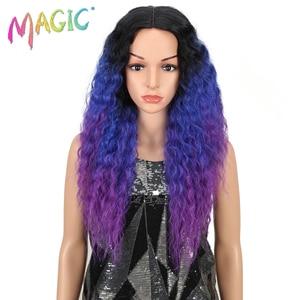 Image 1 - Pelucas de pelo largo negro y morado con encaje frontal para mujeres negras, pelucas de pelo sintético con encaje frontal de 26 pulgadas, resistente al calor