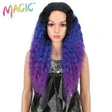 Perruque Lace Front synthétique MAGIC, cheveux longs violets et noirs, couleur ombrée en Fiber H résistante à la chaleur de 26 pouces pour femmes noires