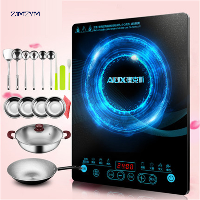 Electric magnetic Induction cooker 220V/50HZ household waterproof small hot pot stove hotpot oven kitchen appliance C2109L 2100W stainless steel electric double ceramic stove hot plate heater multi cooking cooker appliances for kitchen 220 240v vde plug
