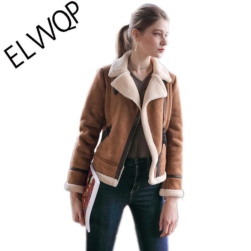 5f260dd2c US $57.94 39% OFF New 2018 Faux Shearling Sheepskin Coats Women Thick Suede  Jackets Women Autumn Winter Lambs Wool Short Motorcycle Coats LF918-in ...