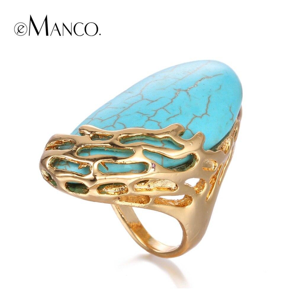 eManco Природный камень Этнические Урожай Геометрическая Заявление Большие кольца для женщин Turquoise Позолоченные ювелирные изделия в Brand 2016