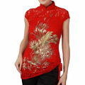 Free Shipping Red Chinese Women's Lace Embroidery Shirt Tops dress Phenix Size S M L XL XXL XXXL A0048-C