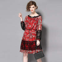 2017 Newest Silk Printed Women S Spring Summer Slim Dress Fashion Patchwork Slash Neck Female Dress